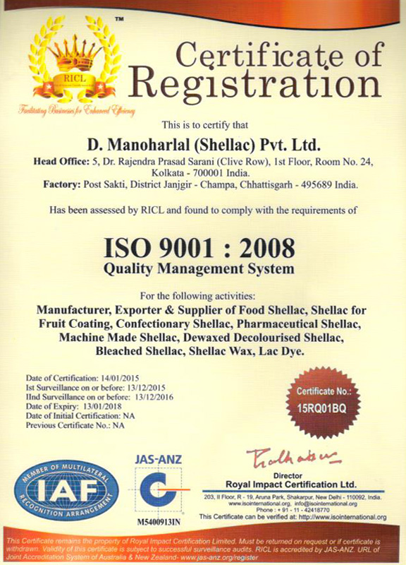 Our Certifications - D  Manoharlal (Shellac) Pvt  Ltd